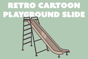 Retro Cartoon Playground Slide