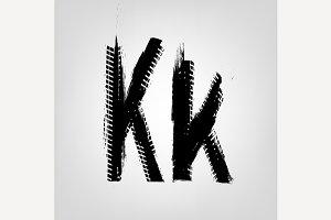"""Grunge Tire Letter """"K"""""""