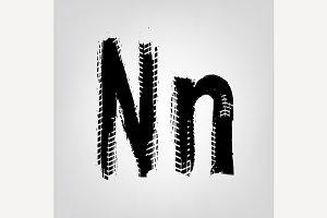"Grunge Tire Letter ""N"""