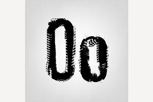 "Grunge Tire Letter ""O"""