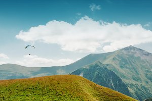 Georgian mountines with blue sky