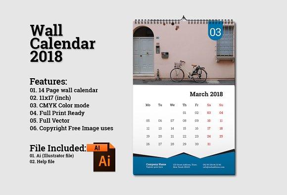 Wall Calendar Template 2018 V5 Stationery Templates Creative Market
