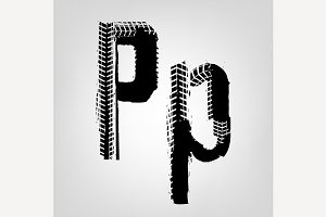 "Grunge Tire Letter ""P"""