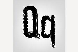 "Grunge Tire Letter ""Q"""