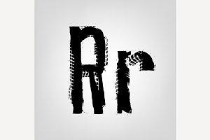 "Grunge Tire Letter ""R"""