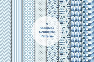 8 Seamless Geometric Vector Patterns