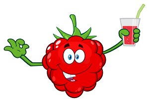 Raspberry Fruit Cartoon Character