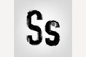 "Grunge Tire Letter ""S"""