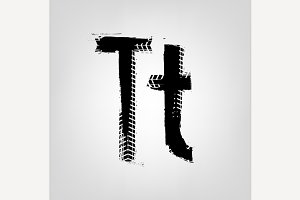 "Grunge Tire Letter ""T"""