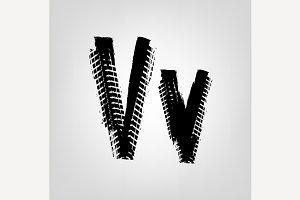 "Grunge Tire Letter ""V"""
