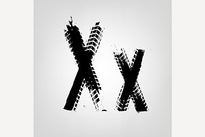 "Grunge Tire Letter ""X"""
