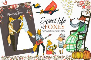Foxes Hand Drawn Kids Fall Clip Art