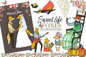Foxes Hand Drawn Kids Fall Clip Art