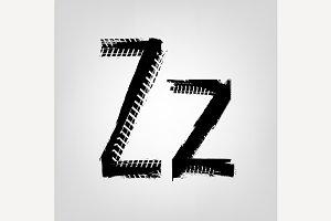 "Grunge Tire Letter ""Z"""