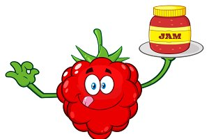 Raspberry Fruit Mascot Character