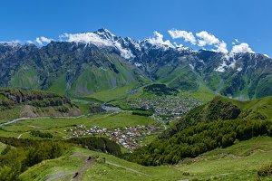 Village under the mountains of Kazbegi, Stepancminda,Sight of G