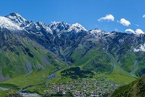 Village under the mountains of Kazbegi, Stepancminda,Sight of Ge