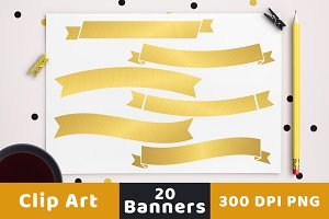 20 Gold Banners Clipart
