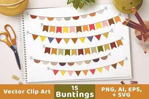 Fall Bunting Clipart, Autumn Banner