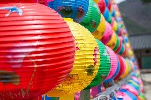 Colorful lantern in buddhist temple Songgwangsa, South Korea. 12 april 2017 close to Budda birthday time