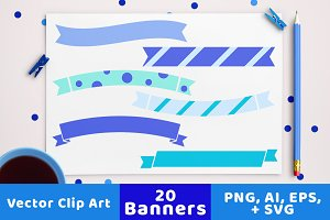 20 Winter Banners Clipart