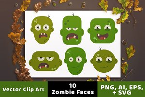 10 Zombie Faces Halloween Clipart