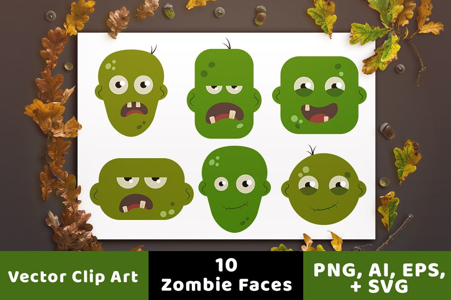 20cfe76bd0d1b 10 Zombie Faces Halloween Clipart