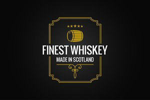 whiskey logo dark label design
