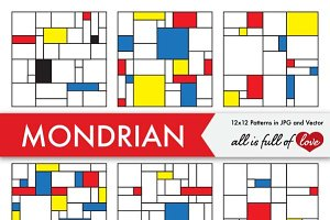Mondrian Style Background Patterns