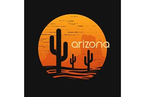 Arizona state landscape. Tee design.