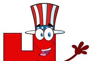Happy Patriotic Red Number Four