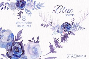 Watercolor Purple Bouquets
