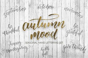 Autumn mood hand lettering set