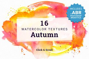 16 Watercolor Textures - Autumn