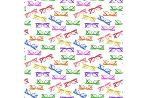Vector colorful glasses seamless pattern