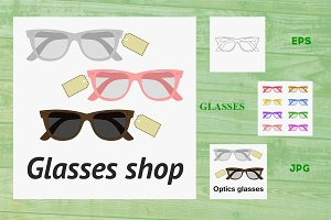 Glasses shop illustration