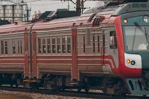 Red passenger train