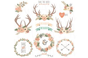 Floral Wreath and Floral Antlers