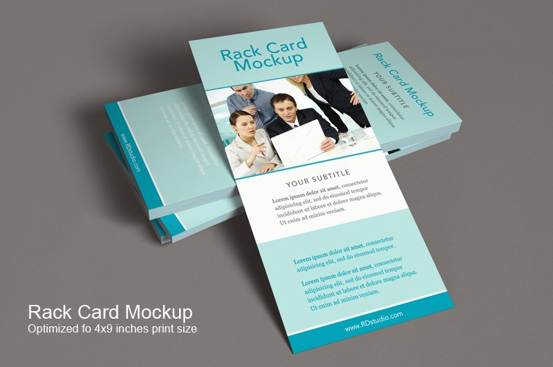 rack card mockup product mockups creative market. Black Bedroom Furniture Sets. Home Design Ideas