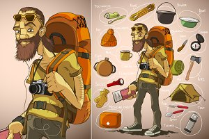 Traveler and things for travel