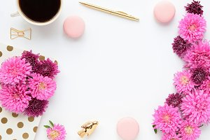 Styled photo - desk scene & asters