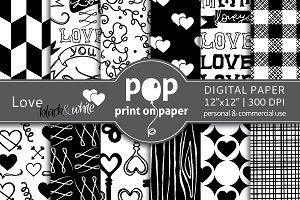 Love Black & White Digital Paper