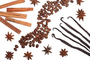 Vanilla sticks, cinnamon, coffee beans and star anise isolated on white background. Composition