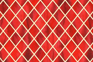 Watercolor red ruby rhombus geometric yellow line seamless pattern texture background