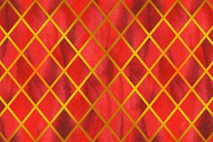 Watercolor red ruby rhombus geometric golden line seamless pattern texture background