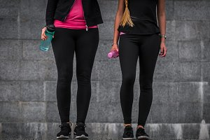 sporty girls are on the steps