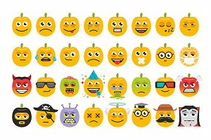 Set pumpkins for Halloween emoticons