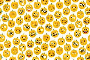 Seamless of pumpkins emoticons