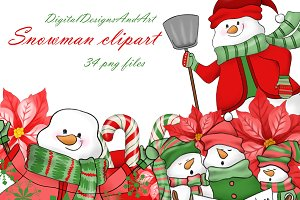 Snowman clipart in red and green