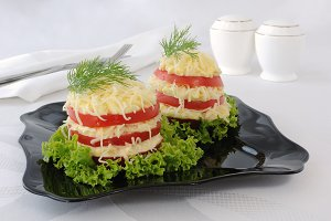 Appetizer of tomato slices